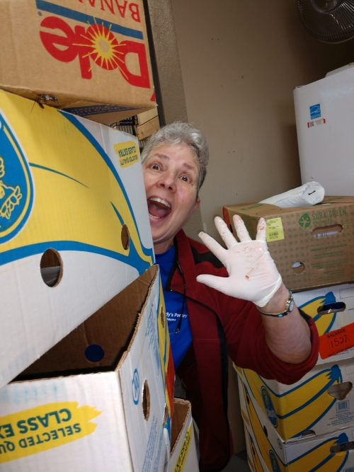 Woman hiding behind a stack of boxes