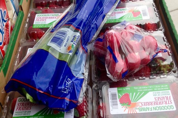 Box of strawberries and celery
