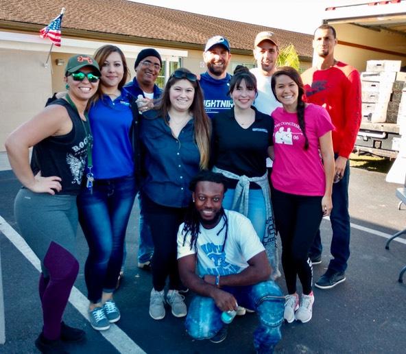 Group of young men and women volunteers