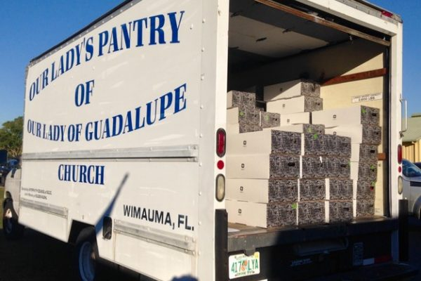 Food Pantry Truck filled with turkey dinners