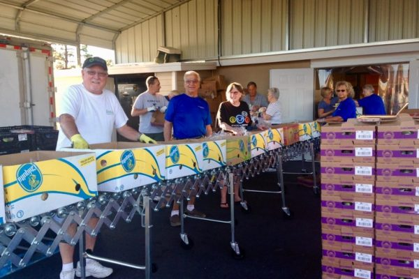 Men and women preparing to fill boxes lined up on metal trolley with fresh produce.